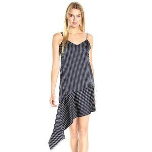 JOA Women's Asymmetrical Hem Stripe Slip Dress